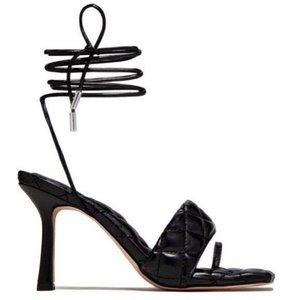 Lace Up Quilted Square Toe Heels in Black